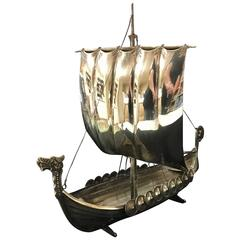 Vintage Silver Plate and Brass Viking Ship