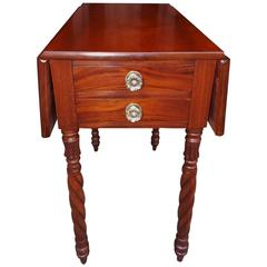 American Federal Cherry Drop-Leaf Four-Drawer Side Table, N.C, Circa 1815
