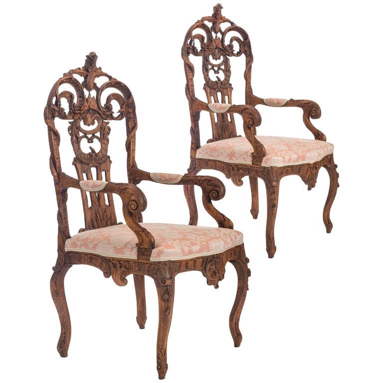 Pair of Liege or Aix-la-chapelle Rococo Oak Armchairs For Sale
