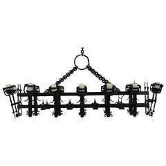 Monumental Fourteen-Light Hand-Wrought Iron Chandelier