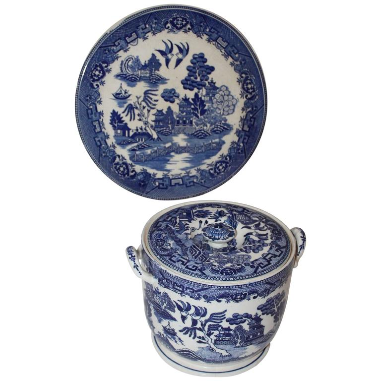 Blue Willow Cracker Jar and Large Cake Plate