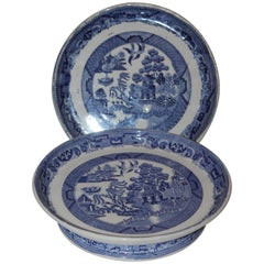 Pair of Early 19th Century English Blue Willow Cake Plates