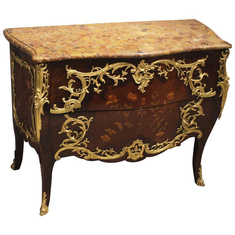 French Ormolu-Mounted Marquetry Commode