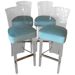 Lucite and Brass Barstools Bar Stools Charles Hollis Jones Style Set of Four
