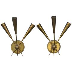Pair of Chic French 1950s Three-Arm Patinated Brass Sconces