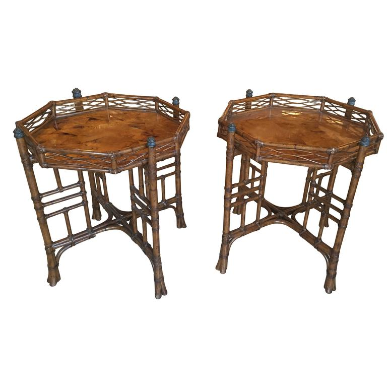 Exceptionnel Pair Of Rattan End Side Tables Octogonal Tortoise Bamboo Tropical  Chinoiserie For Sale
