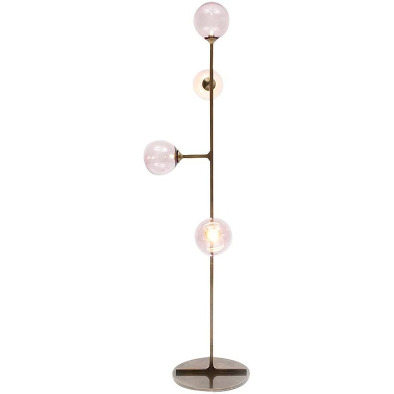 Helix Floor Lamp with Brass and Handblown Glass