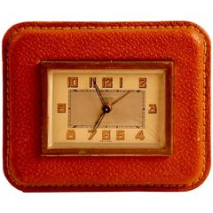 Adnet Style Leather Clock