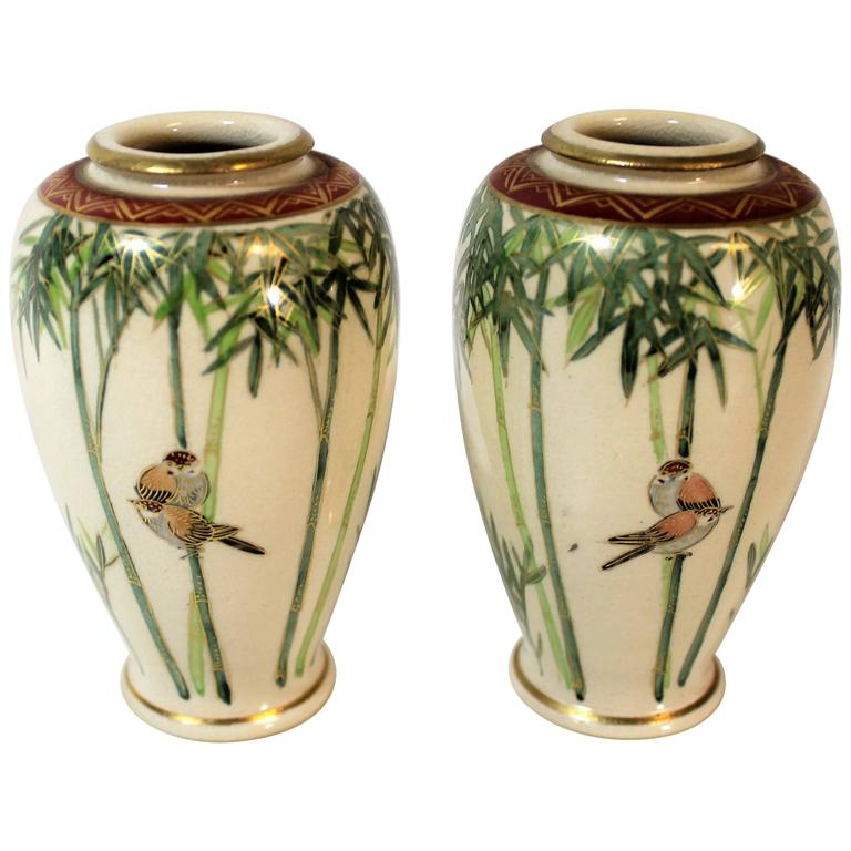 Pair Of Japanese Meiji Period Satsuma Pottery Vases For Sale At 1stdibs