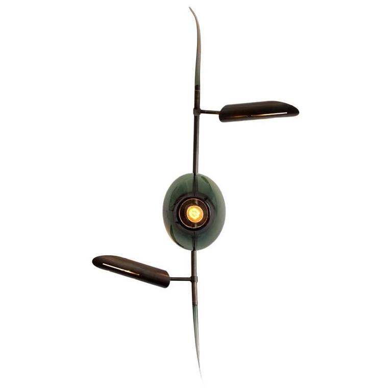 KYOTO Wall Sconce with Brass and Tinted Hand Blow Glass, Customizable