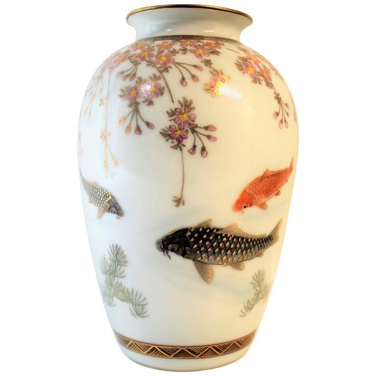 Japanese meiji period porcelain vase with koi fish at 1stdibs for Koi fish vase