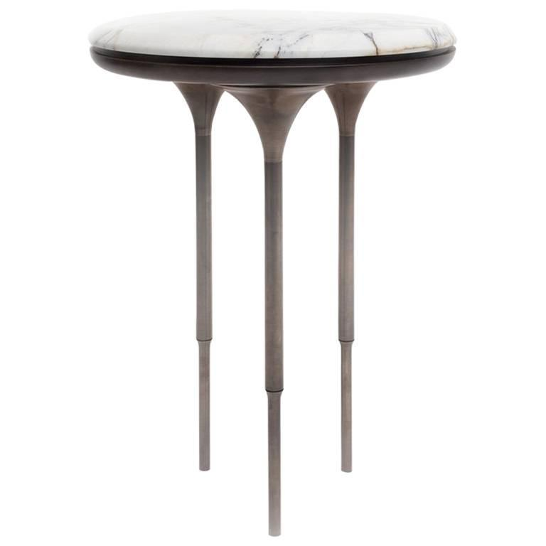 NYX Side Table with Stone, Walnut and Brass