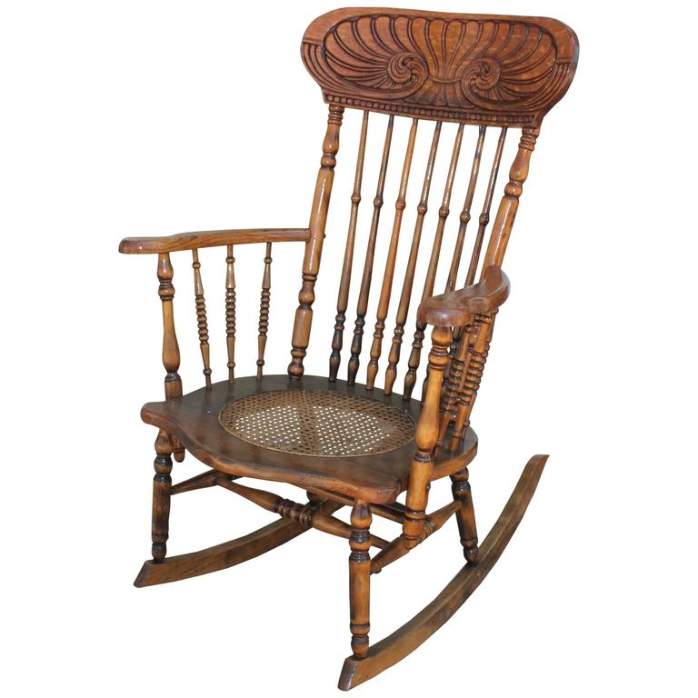 Early 20th Century Press Back Adirondack Rocking Chair For Sale
