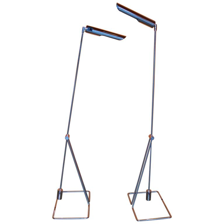 Pair of Abo Randers Chrome Floor Lamps For Sale