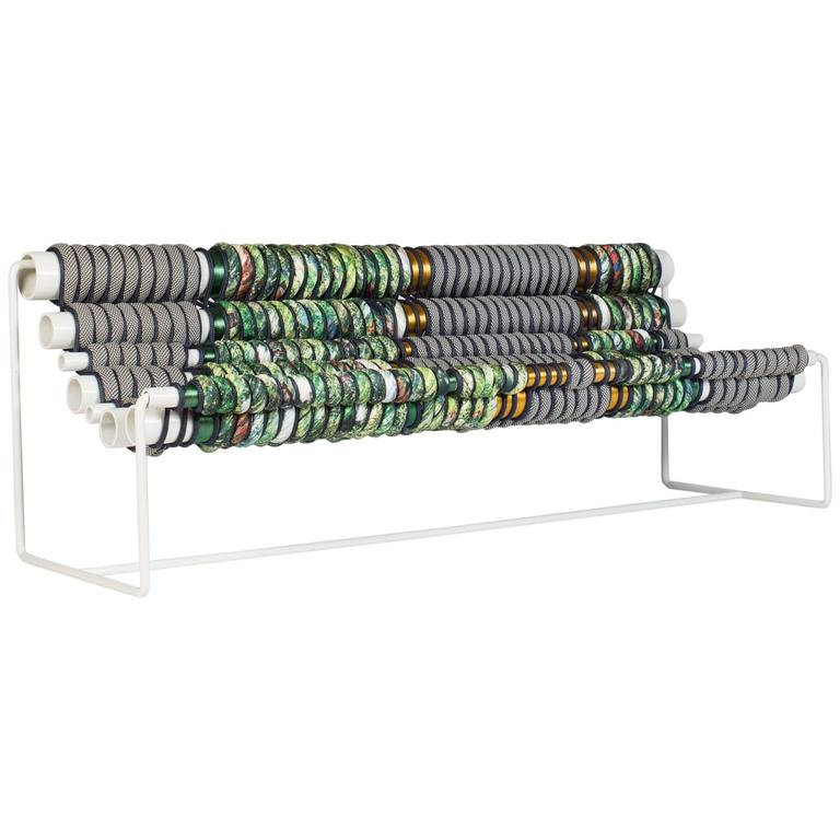 Betil Dagdelen Alloy Bench with Aluminum Pipes, Steel, Rope and Fabric, 2016 For Sale