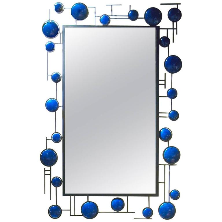 Christophe Come Blue Enamel Mirror in Copper and Blue Enamel, 2016 For Sale