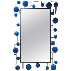 Christophe Come Blue Enamel Mirror in Copper and Blue Enamel, 2016