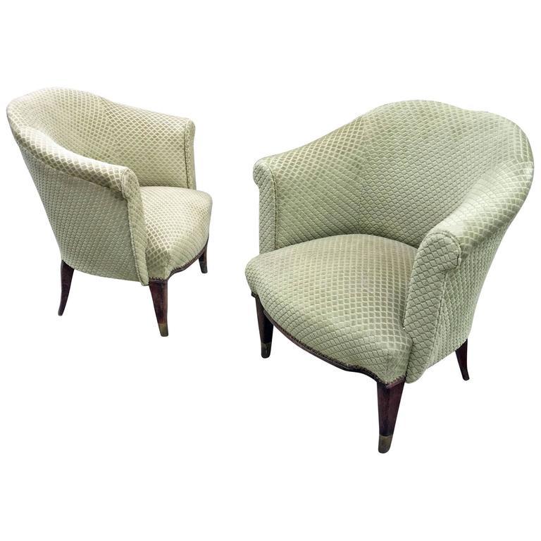 Pair of Art Deco Armchairs in Beech and Velvet, circa 1940