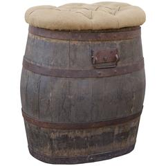 Oak Whiskey Barrel with Tufted Hinged Top