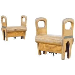 1960s Wooden Gymnastics Turn Element or Stools