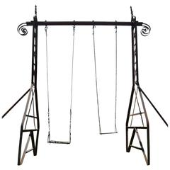 Rare Early 20th Century Wrought Iron Swing of Gustave Eiffel's School