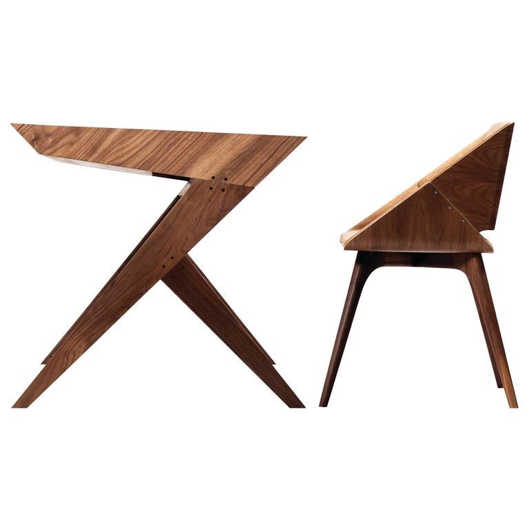 """""""Locust"""" Wood Desk with """"Nest"""" Chair, Alexandre Caldas"""