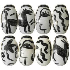 Rare Post-Modernism Black and White Pair of Swedish Vases