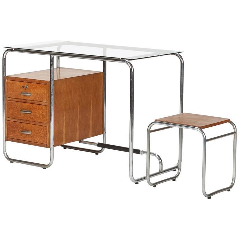 Italian bauhaus desk with stool tubular steel oak 1930s for Bauhaus italia