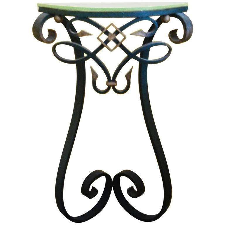 French Wrought Iron Corner Console Table In Poillerat Style 1950s For