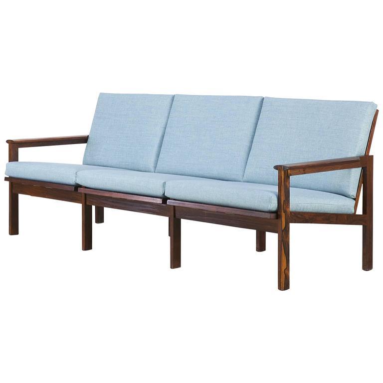 1960s Illum Wikkelsø Rosewood Three-Seat Sofa for Niels Eilersen
