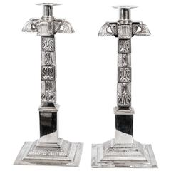 Pair of Exquisite Silver Plated Mexican Aztec Style Candlesticks