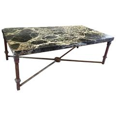 Coffee Table with Antique 18th Century Verde Antico Marble Top