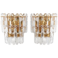 Pair of Kalmar Sconces Wall Lights 'Palazzo', Gilt Brass Glass, 1970