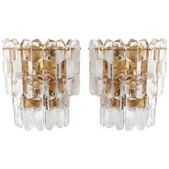 Pair of Kalmar Sconces Wall Lights 'Palazzo', Gilt Brass Glass, 1970