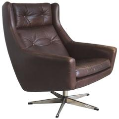 1970s Danish Mid-Century Brown Leather Swivel Chair with Chromed Steel Feet
