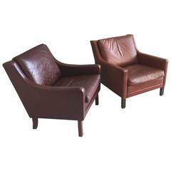 Pair of 1970s Danish Mid-Century Børge Mogensen Style Leather Club Armchairs