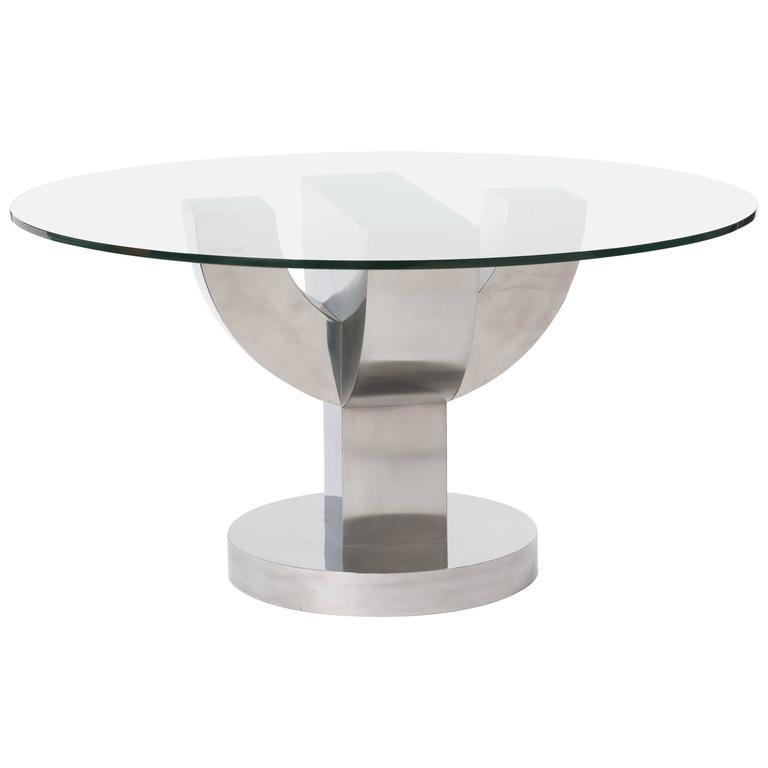20. Jahrhunderts Italienischer Kaktus Förmiger Esszimmer Tisch mit Edelstahl Furnier  1