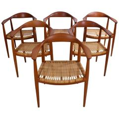 Hans Wegner set of Six 'The Chair' in Teak and Cane for Johannes Hansen