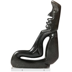 Midcentury Cubistic African Black Springstone Sculpture, Signed B. Khoreay