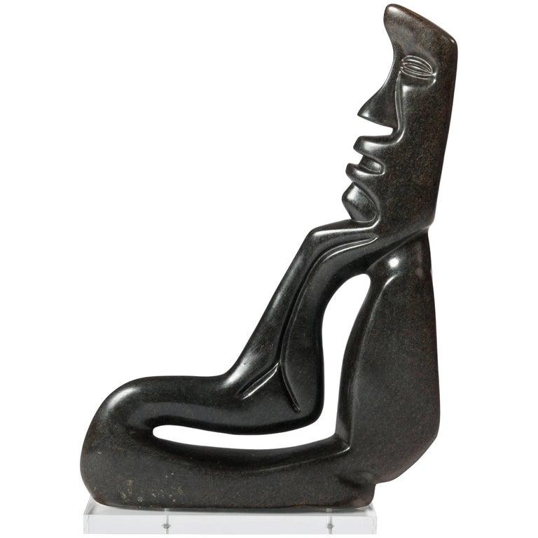 Midcentury Cubistic African Black Springstone Sculpture, Signed B. Khoreay For Sale