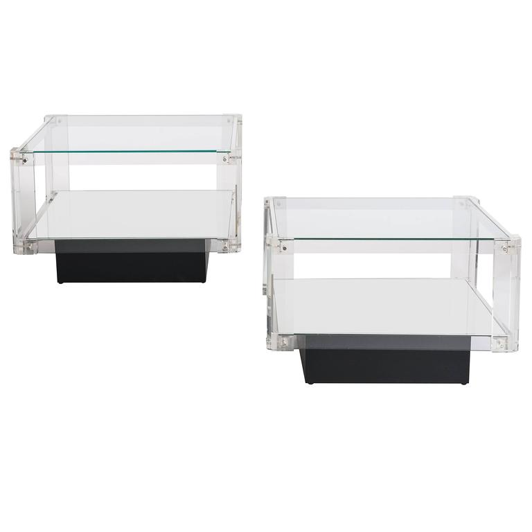Pair of Scandinavian Acrylic Glass Side Tables from the 1960s