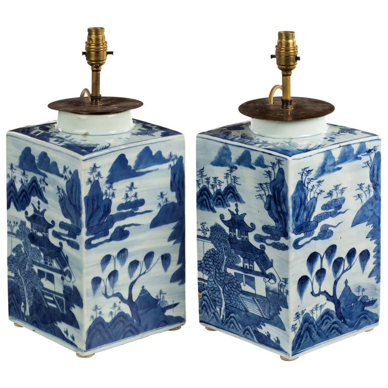 19th Century Pair of Chinese Canton Tea Canisters For Sale