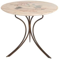 Elegant Mid-Century, Italian Coffee Table with Hand-Painted Marble Top
