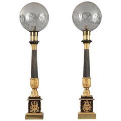 Pair of Large Kerosene Lamps, Restauration Period