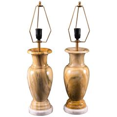 Vintage Pair of Peach Table Lamps, Late 20th Century