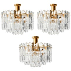 Three Kalmar Flush Mount Lights 'Palazzo', Gilt Brass Glass, 1970s