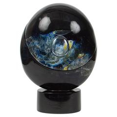 Signed Dino Rosin Murano Planet Sculpture in Chalcedony Glass