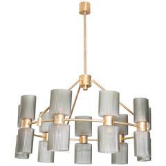 Italian 20th Century Grey Murano Glass and Brass Eighteen-Light Chandelier