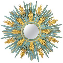 Unique Baroque Style Carved Wood Turquoise and Gilt Sunburst Mirror, Marbella