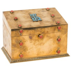 19th Century French Coral Mounted Brass Letter Stationary Box